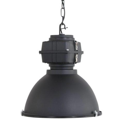 Industriële hanglamp industrie glas 40cm MEXLITE - 7881ZW - Industriele hanglamp - Industrielamp - Mexlite - Fender - Industrieel - Trendy - Zwart Zwart mat - Metaal Glas