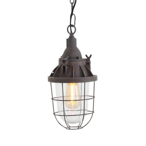 Industriële hanglamp 1-lichts lantaarn MEXLITE - 7890B - Industrie lamp - Industriele hanglamp - Mexlite - Mistral - Industrieel - Landelijk - Bruin Authentiek bruin - Metaal Glas