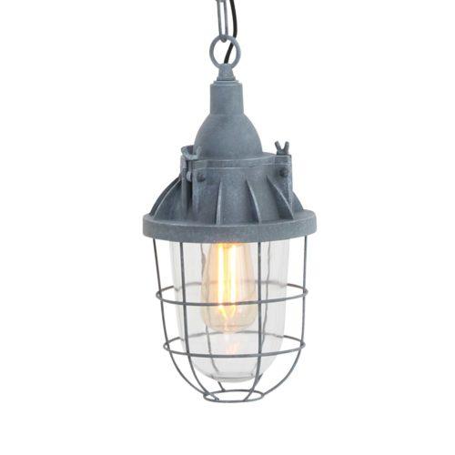 Industriële hanglamp 1-lichts lantaarn MEXLITE - 7890GR - Industriele hanglamp - Industrie lamp - Mexlite - Mistral - Industrieel - Landelijk - Grijs Betongrijs - Metaal Glas