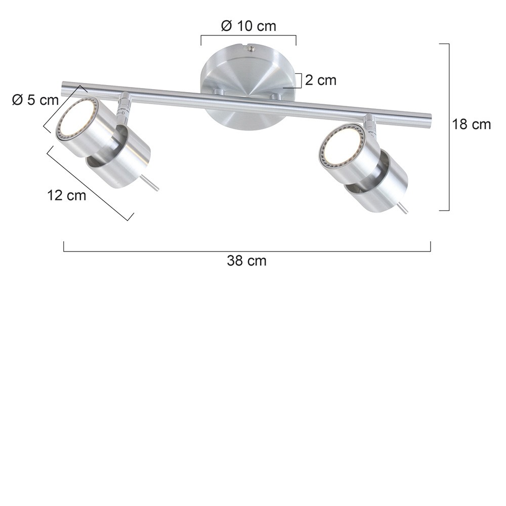 staal. Spot 2-lichts LED -5782st- STEINHAUER - 7902ST - Plafondlamp- Spots- Steinhauer- Natasja LED- Modern- Staal  Staal- Metaal