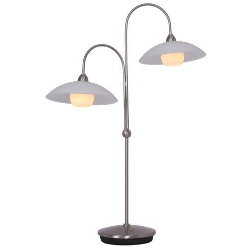 Tafellamp 2-lichts LED -2930st- STEINHAUER - 7927ST - Tafellamp- Steinhauer- Aleppo- Klassiek- Staal Wit - Metaal Glas