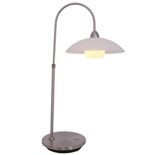 Tafellamp 1-lichts LED -2949st- STEINHAUER - 7928ST - Tafellamp- Steinhauer- Aleppo- Klassiek- Staal Wit - Metaal Glas