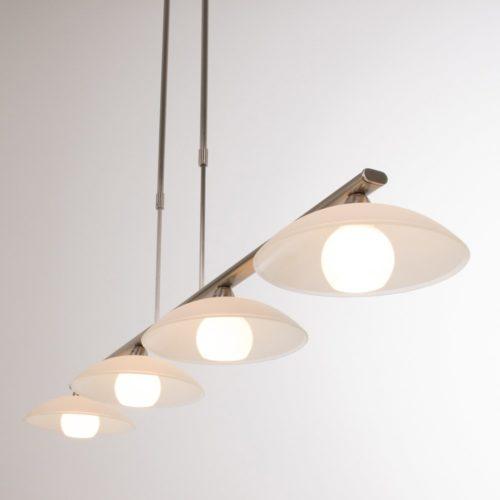 Hanglamp 4-lichts LED -3281/7930+dim- STEINHAUER - 7964ST - Hanglamp- Steinhauer- Monarch- Modern- Staal  Staal geborsteld- Metaal