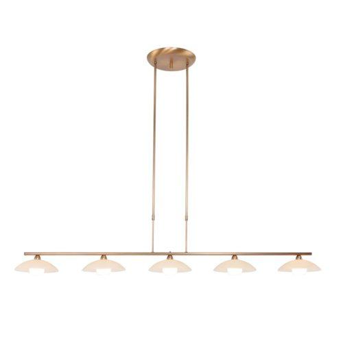 Hanglamp 5-LGlas LED -5508/7931+dim- STEINHAUER - 7965BR - Hanglamp- Steinhauer- Monarch- Klassiek- Brons  Brons geborsteld- Metaal Glas