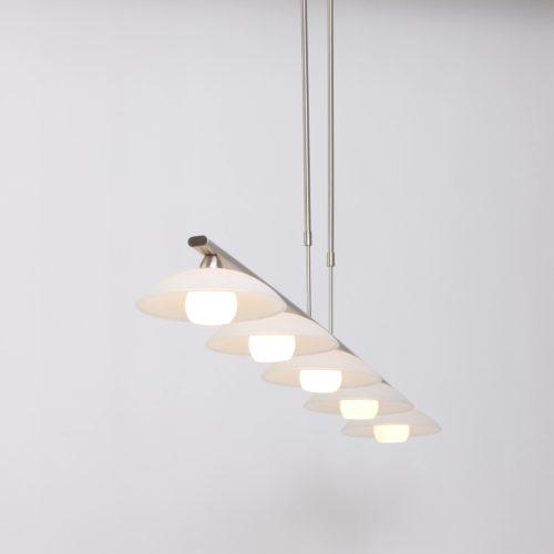 Hanglamp 5-LGlas LED -5508/7931+dim- STEINHAUER - 7965ST - Hanglamp- Steinhauer- Monarch- Modern- Staal  Staal geborsteld- Metaal Glas
