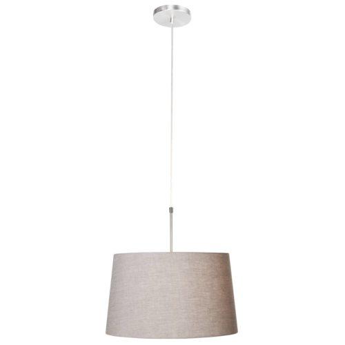 Hanglamp Gramineus 9568 staal- kap linnen grijs STEINHAUER - 9568ST - Hanglamp- Steinhauer- Gramineus- Modern- Staal Beige - Metaal Stof