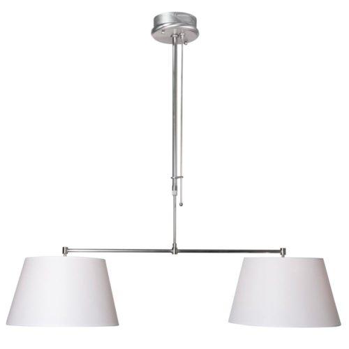 Hanglamp Gramineus 9581 staal- kap effen wit STEINHAUER - 9581ST - Hanglamp- Steinhauer- Stresa- Modern- Staal Wit - Metaal Stof