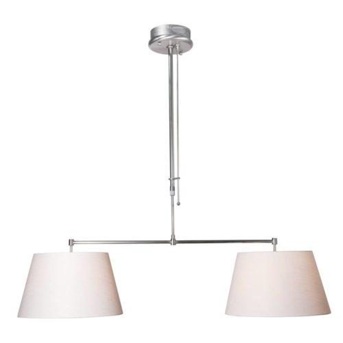 Hanglamp Gramineus 9582 staal- kap linnen wit STEINHAUER - 9582ST - Hanglamp- Steinhauer- Gramineus- Modern- Staal Wit - Metaal Stof