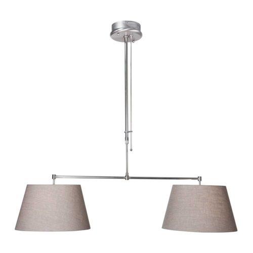 Hanglamp Gramineus 9583 staal- kap linnen grijs STEINHAUER - 9583ST - Hanglamp- Steinhauer- Gramineus- Modern- Staal Beige - Metaal Stof