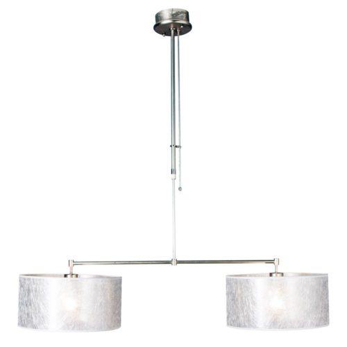 Hanglamp Stresa 9588 staal- kap sizoflor zilver STEINHAUER - 9588ST - Hanglamp- Steinhauer- Stresa- Modern- Staal Zilver - Metaal Stof