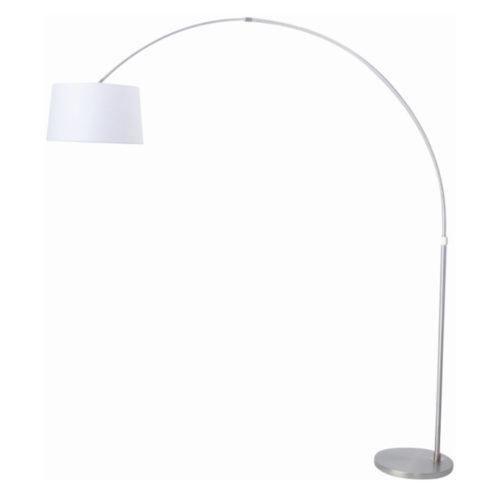 1-lichts booglamp met witte kap Stresa 9674ST STEINHAUER - 9674ST - Vloerlamp- Booglamp- Steinhauer- Stresa- Modern- Staal Wit - Metaal Stof