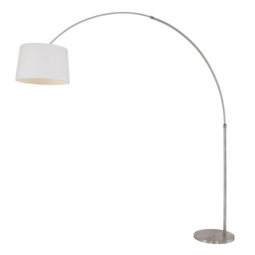 Vloerlamp Gramineus 9675 staal- kap linnen wit STEINHAUER - 9675ST - Vloerlamp- Booglamp- Steinhauer- Gramineus- Modern- Staal Wit - Metaal Stof