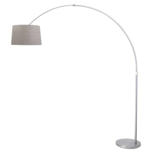 Vloerlamp Gramineus 9676 staal- kap linnen grijs STEINHAUER - 9676ST - Vloerlamp- Booglamp- Steinhauer- Gramineus- Modern- Staal Beige - Metaal Stof