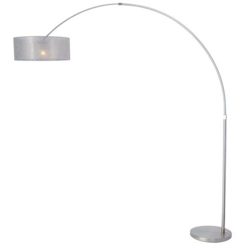 Vloerlamp Stresa 9680 staal- kap sizoflor zilver STEINHAUER - 9680ST - Vloerlamp- Booglamp- Steinhauer- Stresa- Modern- Staal Zilver - Metaal Stof