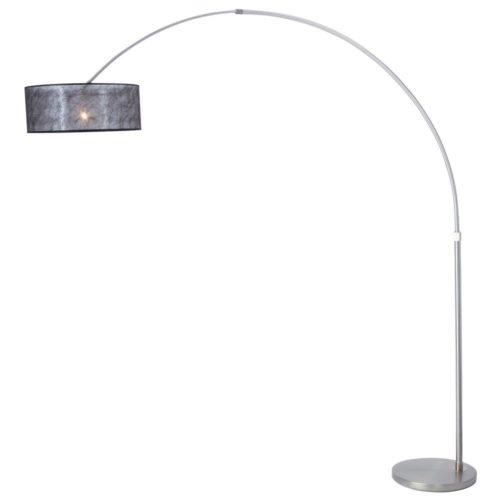 Vloerlamp Stresa 9681 staal- kap sizoflor zwart STEINHAUER - 9681ST - Vloerlamp- Booglamp- Steinhauer- Stresa- Modern- Staal Zwart - Metaal Stof