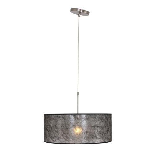 Hanglamp 9888ST STEINHAUER - 9888ST - Hanglamp- Steinhauer- Stresa- Modern- Staal Kap=zwart Sizo Staal met een Zwarte Sizofl. Kap- Metaal Stof