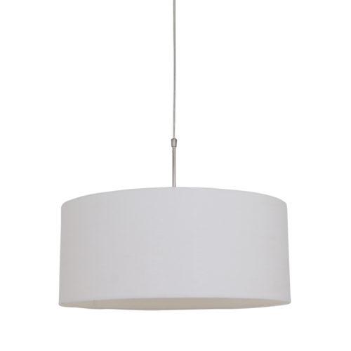 Hanglamp 9889ST STEINHAUER - 9889ST - Hanglamp- Steinhauer- Stresa- Modern- Staal Kap=creme Staal met een Linnen kap- Metaal Stof