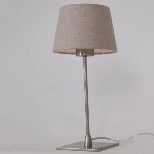 Tafellamp Gramineus 9928ST Staal STEINHAUER - 9928ST - Tafellamp- Steinhauer- Gramineus- Modern- Staal Kap=grijs staal met grijs linnen kap- Metaal Stof