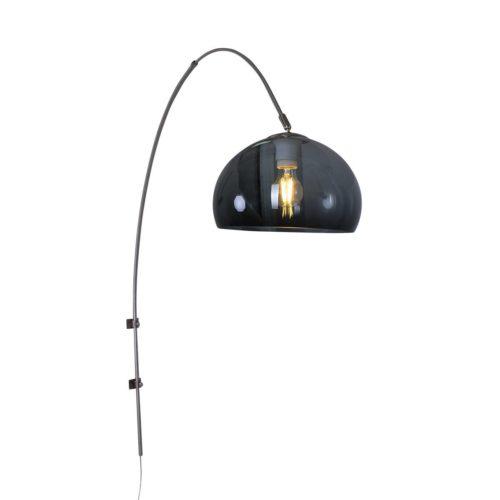 Wandlamp Gramineus 9938ST Staal STEINHAUER - 9938ST - Wandlamp- Steinhauer- Stresa- Modern- Staal Kap=grijs staal met grijze plexi bol- Metaal Kunststof