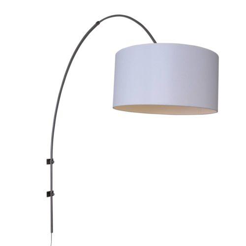 Wandlamp Gramineus 9939ST Staal STEINHAUER - 9939ST - Wandlamp- Steinhauer- Gramineus- Modern- Staal Kap=wit Chintz staal met witte chintze kap- Metaal Stof