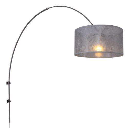 Wandlamp Gramineus 9941ST Staal STEINHAUER - 9941ST - Wandlamp- Steinhauer- Gramineus- Modern- Staal Kap=zilver Sizo staal met zilveren sizo kap- Metaal Stof