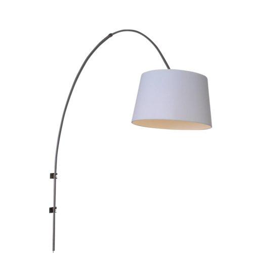 Wandlamp Gramineus 9942ST Staal STEINHAUER - 9942ST - Wandlamp- Steinhauer- Gramineus- Modern- Staal Kap=wit staal met witte kap- Metaal Stof