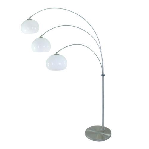 Booglamp Gramineus met drie plexibollen wit 32 cm Boog-vloerlamp - 9956ST - Vloerlamp- Booglamp- Steinhauer- Gramineus- Diversen- Staal Kap=wit Kap=plexibol wit- Metaal Kunststof