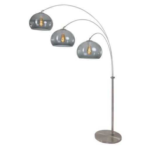 Booglamp Gramineus met drie plexibollen grijs 32 cm Boog-vloerlamp - 9957ST - Vloerlamp- Booglamp- Steinhauer- Gramineus- Diversen- Staal Kap=grijs - Metaal Kunststof