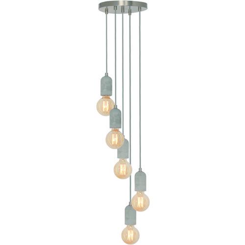 Hanglamp 5-lichts rond 'Beton' 6cm smal Grijs FREELIGHT - H 6965 G