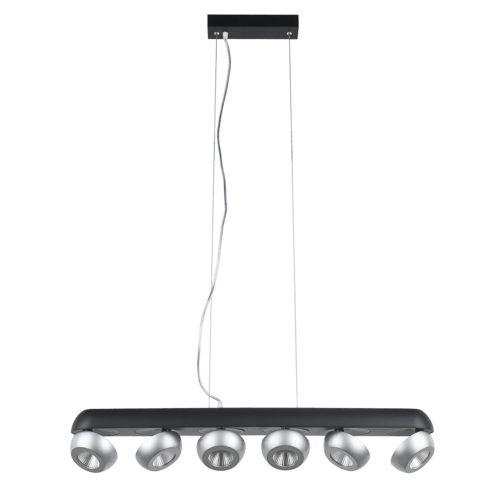 Hanglamp Doblo 6x 5W LED 2700K Zwart / Alu dimbaar