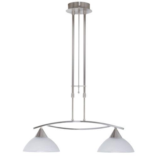 Hanglamp Palermo 2 x E27 Nikkel-mat + glas Alabaster Opaal
