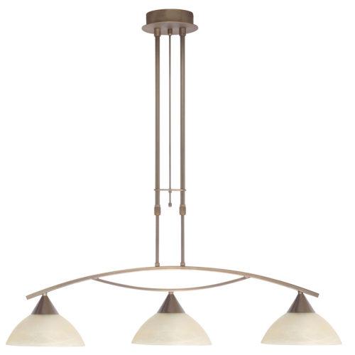 Hanglamp Palermo 3 x E27 Brons + glas Alabaster Vanille