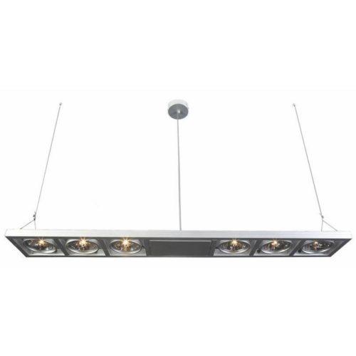 """Industriële hanglamp alu 6-lichts """"Industrieel"""" recht 134cm lang 2xkabel GY6.35"""