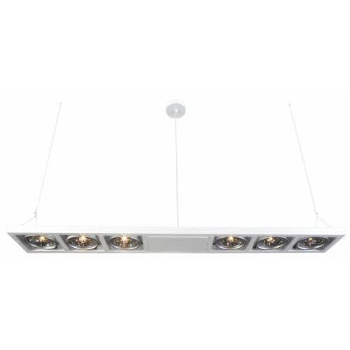 "Industriële hanglamp wit 6-lichts ""Industrieel"" recht 134cm lang 2xkabel GY6.35"