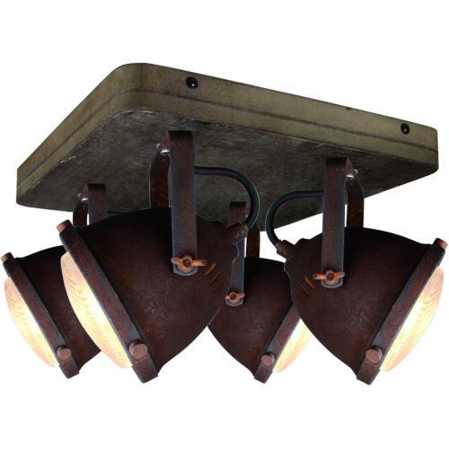Industriële plafondlamp met verstelbare spots. Opbouw plafondspots