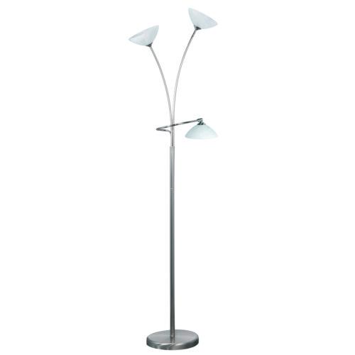 Vloerlamp Livorno 3 x 35W Nikkel Mat + glas Alabaster Wit