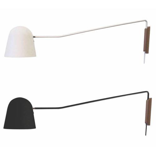 """Wandlamp zwart 1-lichts """"Sensa"""" arm 118cm kap 20x20cm snoerschak E27"""