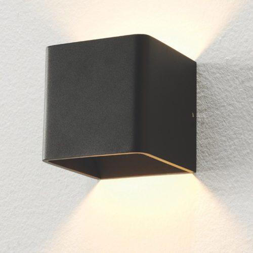 "Wandlamp zwart 1-lichts ""Fulda"" 10x10x10cm LED 6W 2700K 500lm"
