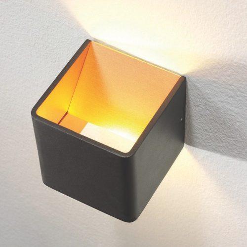 """Wandlamp zwart/goud 1-lichts """"Fulda"""" 10x10x10cm LED 6W 2700K 500lm"""
