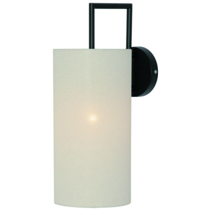 Wandlamp Andito zwart met witte kap
