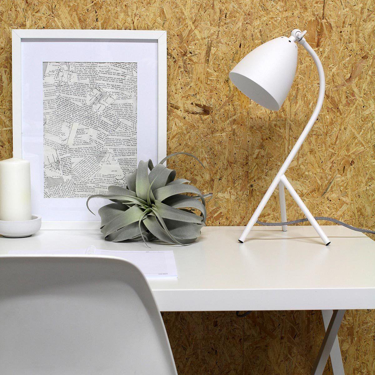 Mooie moderne witte tafellamp, bureaulamp, witte leeslamp van Steinhauer, bij Webo Verlichting in Beuningen bij Nijmegen.