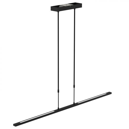Hanglamp LED dimbaar STEINHAUER - 1482ZW - Hanglamp- Steinhauer- Humilus LED- Modern - Design- Zwart  Zwart met witte pirex onderstrip- Metaal
