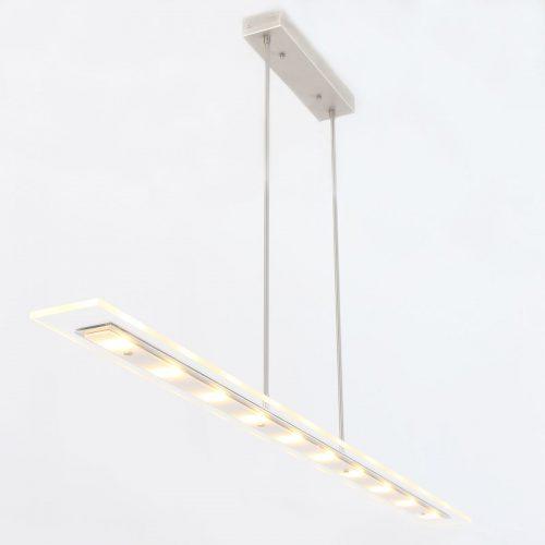 Hanglamp 10-led 140cm helder -7593st- STEINHAUER - 7899ST - Hanglamp- Steinhauer- Plato LED- Modern- Staal  Stalen armatuur met witte glasplaat- Metaal Glas