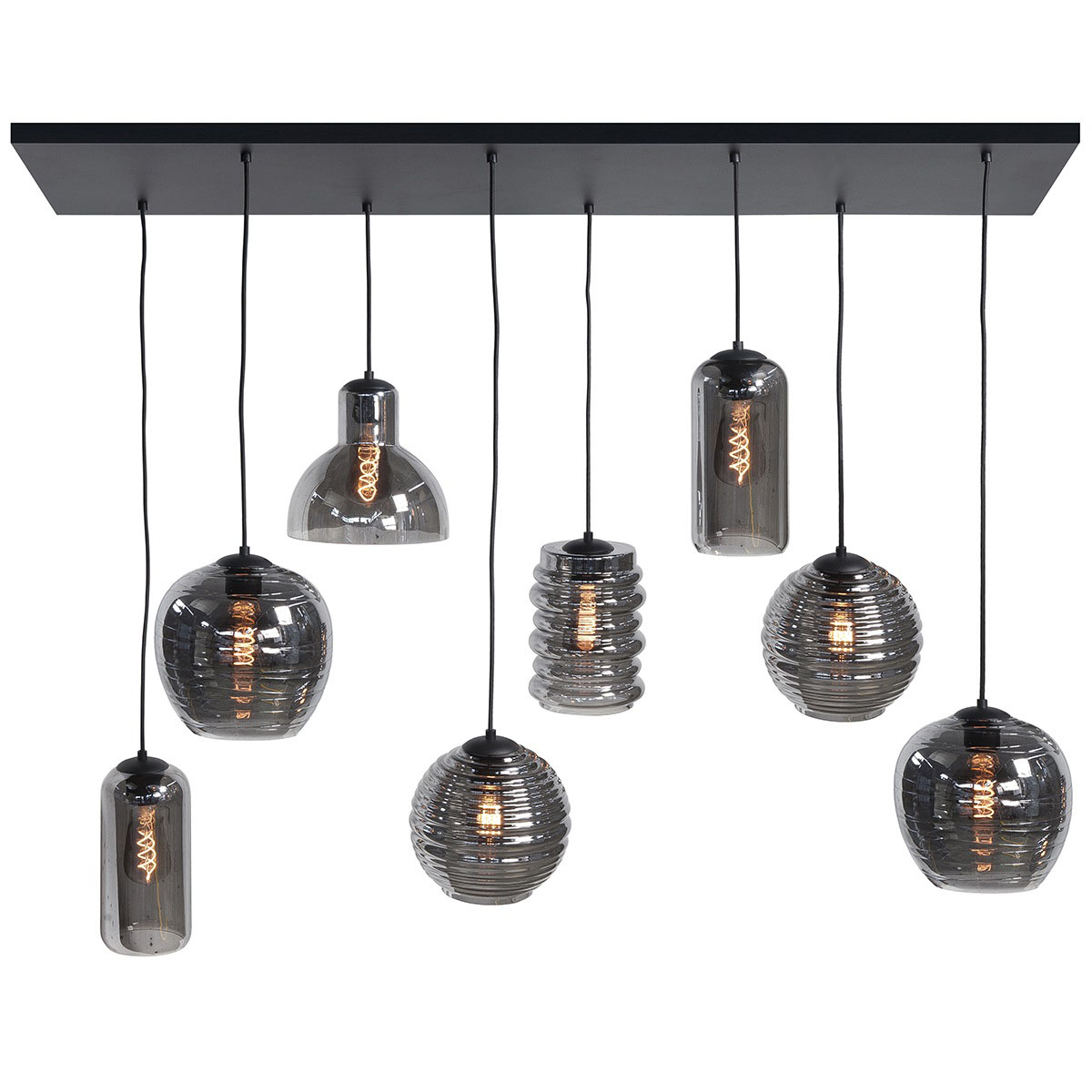 Hanglamp 130 cm. X 35 cm. lichts 8 X E27 Fantasy + glas Smoke