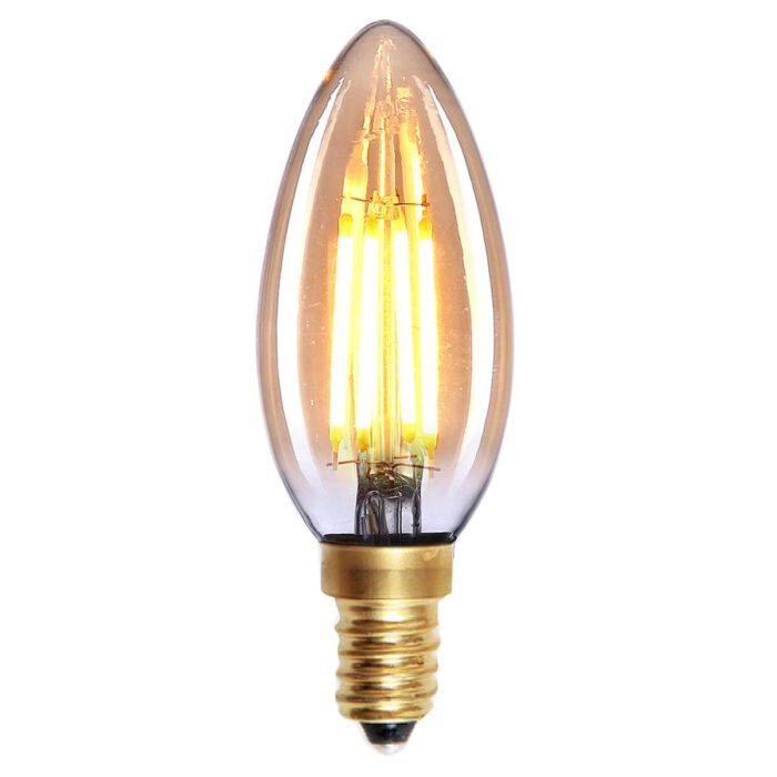 Kaarslamp LED Filament 4W Amber dimbaar E14