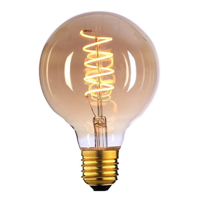 Globe 125 LED 4W Spiral Amber dimbaar E27