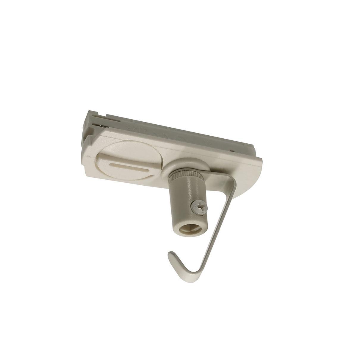 Adapter voor hanglamp voor witte spanningrail. Deze adapter voor een hanglamp maakt onderdeel uit van de moderne railverlichting RSWebo-1 van High Light. Dit moderne 1 fase railsysteem van Highlight  kunt u geheel zelf samenstellen. Het systeem RSWebo-1 beschikt over verschillende lengtes spanningrail