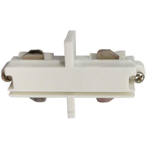 Intern koppelstuk voor witte spanningrail. Dit aansluitstuk maakt onderdeel uit van de moderne railverlichting RSWebo-1 van High Light. Dit moderne 1 fase railsysteem van Highlight  kunt u geheel zelf samenstellen. Het systeem RSWebo-1 beschikt over verschillende lengtes spanningrail