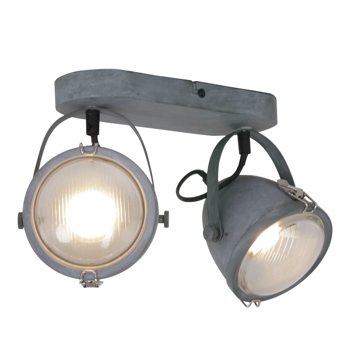 Industriële plafondlamp 2-lichts spot