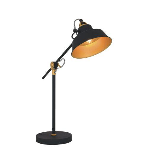 Industriële tafellamp 1-lichts metaal MEXLITE - 1321ZW - tafellamp - industrieel - bureaulamp - zwart - Mexlite